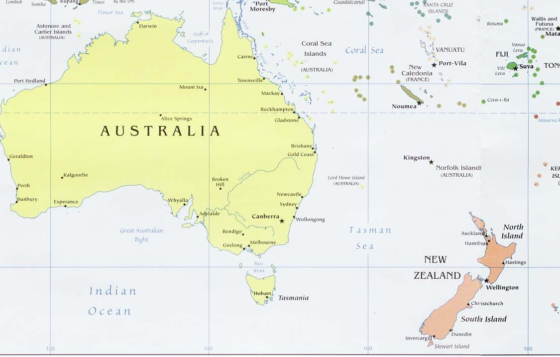 Países da Oceania - e suas capitais, idiomas e moedas