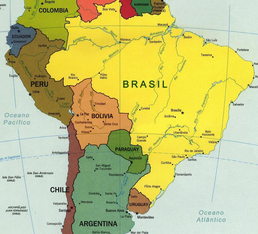 mapa da américa do sul países e capitais Países da América do Sul   e suas capitais, idiomas e moedas  mapa da américa do sul países e capitais