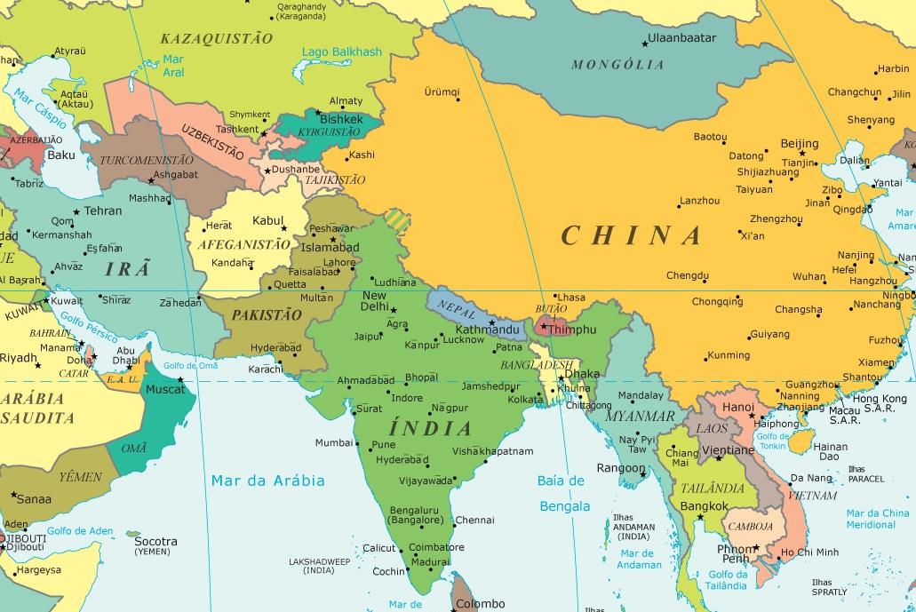 mapa da asia paises e capitais Países da Ásia   e suas capitais, idiomas e moedas   Lugares e  mapa da asia paises e capitais